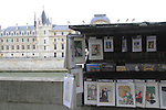 Artwork sold along the Seine River, Paris, France.