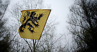 "Flemish ""Flandrien"" Flag at the finish<br /> <br /> Flandriencross Hamme 2014"