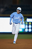 Clemente Inclan (18) of the North Carolina Tar Heels rounds second base against the Charlotte 49ers at BB&T BallPark on March 27, 2018 in Charlotte, North Carolina. The Tar Heels defeated the 49ers 14-2. (Brian Westerholt/Four Seam Images)