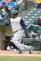 April 15th, 2007:  Ernie Young of the Charlotte Knights, Class-AAA affiliate of the Chicago White Sox, during a game at Frontier Field in Rochester, NY.  Photo by:  Mike Janes/Four Seam Images