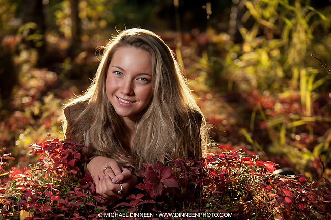 Senior Portrait for West High Senior Dani Holden in the studio and the fall colors of BiCentennial Park.