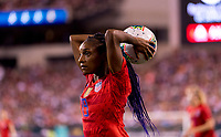 PHILADELPHIA, PA - AUGUST 29: Crystal Dunn #19 of the United States throws the ball in during a game between Portugal and the USWNT at Lincoln Financial Field on August 29, 2019 in Philadelphia, PA.