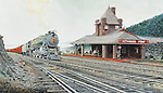 """A Pennsylvania Railroad K4 steam locomotive with a passenger train starts around Hoseshoe Curve at the Kittaning Point station on the PRR mainline above Altoona. Available as a 13.5"""" x 23.5"""" fine art limited edition lithograph, including Certificate of Authenticity."""
