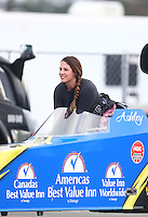 Feb 11, 2017; Pomona, CA, USA; NHRA top alcohol dragster driver Ashley Sanford during the Winternationals at Auto Club Raceway at Pomona. Mandatory Credit: Mark J. Rebilas-USA TODAY Sports
