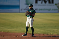 Greensboro Grasshoppers second baseman Francisco Acuna (7) on defense against the Hickory Crawdads at First National Bank Field on May 6, 2021 in Greensboro, North Carolina. (Brian Westerholt/Four Seam Images)