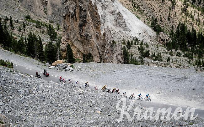 yellow jersey group up the Col de l'Izoard (HC/2354m/14.2km@7%) in the Casse Déserte<br /> <br /> Stage 18: Embrun to Valloire(208km)<br /> 106th Tour de France 2019 (2.UWT)<br /> <br /> ©kramon