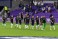 ORLANDO, FL - JANUARY 31: USMNT starting XI take the field prior to a game between Trinidad and Tobago and USMNT at Exploria stadium on January 31, 2021 in Orlando, Florida.