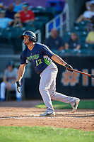 Vermont Lake Monsters Jordan Diaz (12) hits a home run during a NY-Penn League game against the Aberdeen IronBirds on August 18, 2019 at Leidos Field at Ripken Stadium in Aberdeen, Maryland.  Vermont defeated Aberdeen 6-5.  (Mike Janes/Four Seam Images)