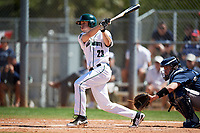 Dartmouth Big Green center fielder Matt Feinstein (23) at bat in front of catcher Doug deMarrais during a game against the Villanova Wildcats on March 3, 2018 at North Charlotte Regional Park in Port Charlotte, Florida.  Dartmouth defeated Villanova 12-7.  (Mike Janes/Four Seam Images)