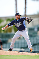 Tampa Bay Rays pitcher V.J. Collins (82) during an Instructional League game against the Baltimore Orioles on September 19, 2016 at Ed Smith Stadium in Sarasota, Florida.  (Mike Janes/Four Seam Images)