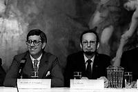FILE - Alexandre Gaudieri et Yves berube, au Musee des Beaux-Arts de Montreal, 27 septembre 1985