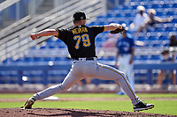 Pittsburgh Pirates pitcher Blake Weiman (79) during a Major League Spring Training game against the Toronto Blue Jays on March 1, 2021 at TD Ballpark in Dunedin, Florida.  (Mike Janes/Four Seam Images)