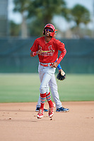 GCL Cardinals shortstop Delvin Perez (15) rounds the bases after Jonathan Machado (not pictured) hit a home run in the top of the first inning during a game against the GCL Mets on July 23, 2017 at Roger Dean Stadium Complex in Jupiter, Florida.  GCL Cardinals defeated the GCL Mets 5-3.  (Mike Janes/Four Seam Images)