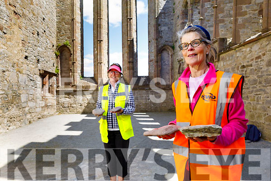 Kathleen Murray and Cathy O'Carroll members of the St Brendan's Pilgrimage group meet at the the Cathedral in Ardfert on Tuesday as they each do a 5k walk with stones from Fenit.  The journey,  began in Fenit on Tuesday and itwillalso take in Tralee, Castlegregory and Cloghane.it will conclude on Friday in Brandon Creek