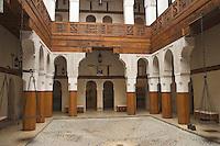 Afrique/Afrique du Nord/Maroc/Fèz: Dans la médina de Fèz-El-Bali Intérieur du Musée Nejjarin des Arts et Métiers du Bois situé dans un ancien caravansérail du XVIII e siecle sur la place en-Nejjarin