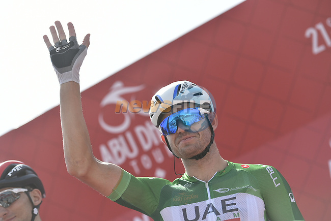 Green Jersey holder Alexander Kristoff (NOR) UAE Team Emirates at sign on before the start of Stage 3 of the 2018 Abu Dhabi Tour, Nation Towers Stage running 133km from Nation Towers to Big Flag, Abu Dhabi, United Arab Emirates. 23rd February 2018.<br /> Picture: LaPresse/Fabio Ferrari | Cyclefile<br /> <br /> <br /> All photos usage must carry mandatory copyright credit (© Cyclefile | LaPresse/Fabio Ferrari)