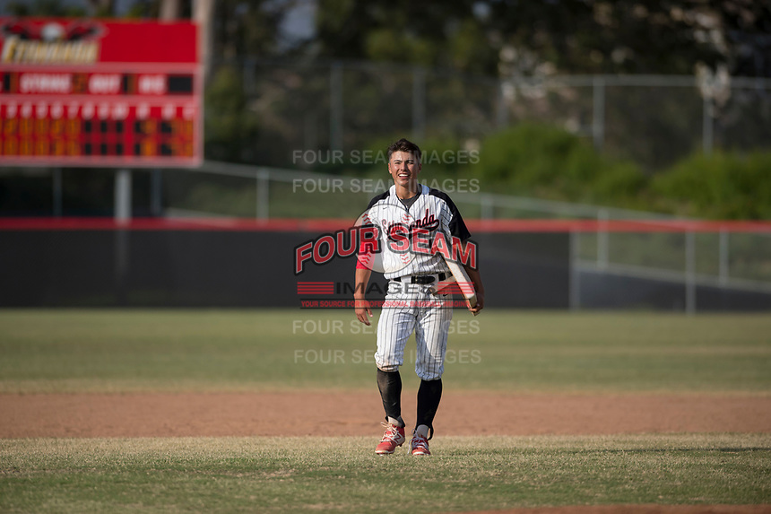 Etiwanda High School Eagles shortstop Cody Freeman (1) after the First Round of California Division 1 Playoffs against the JSerra Catholic High School Lions at Etiwanda High School on May 18, 2018 in Rancho Cucamonga, California. Etiwanda High School defeated JSerra Catholic High School 8-4. (Zachary Lucy/Four Seam Images)