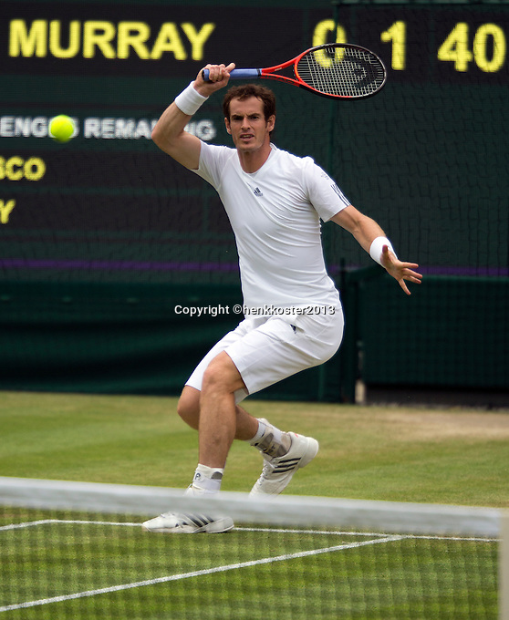 03-07-13, England, London,  AELTC, Wimbledon, Tennis, Wimbledon 2013, Day nine, Andy Murray (GBR)<br /> <br /> <br /> <br /> Photo: Henk Koster