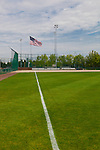 First base line in baseball diamond, Centenial Park, Federal Way, WA.  A public park with athletic fields..Looking down the foul line from right field.