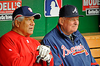 13 April 2008: Atlanta Braves' Manager Bobby Cox (right) chats with Washington Nationals' bench coach Pat Corrales (left) prior to a game between the two teams at Nationals Park, in Washington, DC. Corrales was bench coach for nine years with the Braves and Cox prior to his job in Washington. The Nationals ended their 9-game losing streak by defeating the Braves 5-4 in the last game of their 3-game series...Mandatory Photo Credit: Ed Wolfstein Photo