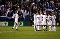 USMNT players gather for the second half..USA vs Honduras, Saturday Jan. 23, 2010 at the Home Depot Center in Carson, California. Honduras 3, USA 1.