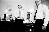 Washington DC, District of Columbia<br /> March 17, 2008 <br /> <br /> Chairman and a member of the Board of Governors of the Federal Reserve System Ben Bernanke in his office with Donald L. Kohn, Federal Reserve Board Vice Chairman the morning after the Federal Reserve intervened to rescue troubled bank Bear Stearns, providing $30bn in emergency support and an interest rate cut.