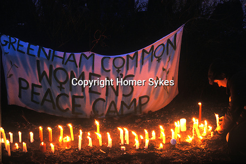 Greenham Common Womens Peace Camp blockading the USAF nuclear cruise missile are base at Greenham Common Berkshire UK 1983.