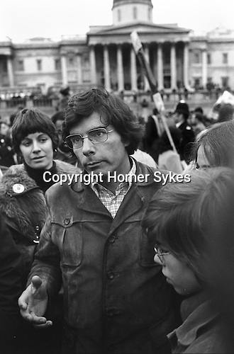 Phillip Agee former member of the CIA and author,  in  London for the publication of his book Inside the Company, first published in the UK due to legal difficulties in the US. Trafalgar Square London 1976. there to support a demonstration to stop his and mark Hosenball's deportation to the USA...