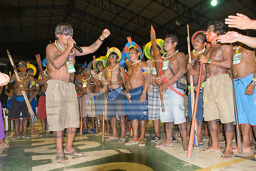 """Altamira, Brazil. """"Xingu Vivo Para Sempre"""" protest meeting about the proposed Belo Monte hydroeletric dam and other dams on the Xingu river and its tributaries."""