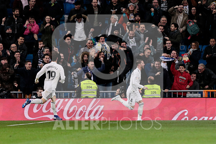 Real Madrid's Alvaro Odriozola (L) and Sergio Ramos (R) celebrate goal during Copa del Rey match between Real Madrid and Girona FC at Santiago Bernabeu Stadium in Madrid, Spain. January 24, 2019. (ALTERPHOTOS/A. Perez Meca)