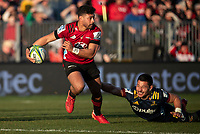 Richie Mo'unga in action during the 2020 Super Rugby match between the Crusaders and Highlanders at Orangetheory Stadium in Christchurch, New Zealand on Saturday, 9 August 2020. Photo: Joe Johnson / lintottphoto.co.nz