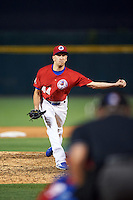 Buffalo Bisons relief pitcher Pat Venditte (44) delivers a pitch during a game against the Louisville Bats on June 20, 2016 at Coca-Cola Field in Buffalo, New York.  Louisville defeated Buffalo 4-1.  (Mike Janes/Four Seam Images)