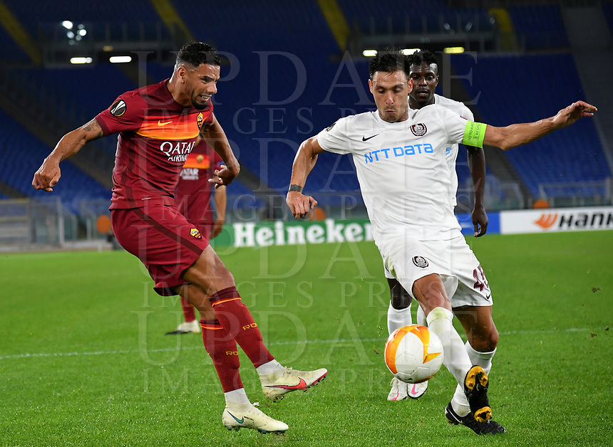 Football Soccer: UEFA Europa League UEFA Europa League Group A  AS Roma vs FCR Cluj, Olympic stadium, Rome, 5 November, 2020.<br /> Roma's Bruno Peres (l) in action with Cluj's captain Camora (r) during the Europa League football match between Roma and Cluj at the Olympic stadium in Rome on  5 November, 2020.<br /> UPDATE IMAGES PRESS/Isabella Bonotto