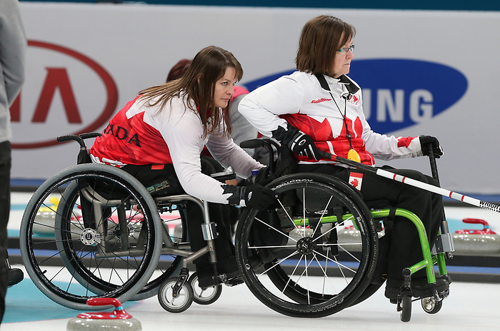 Ina Forrest and Marie Wright, PyeongChang 2018 - Wheelchair Curling // Curling en fauteuil roulant.<br /> Canada competes in Wheelchair curling // Le Canada participent au curling en fauteuil roulant. 12/03/2018.