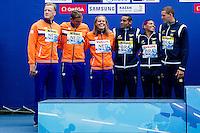 Team Netherlands Team Brazil ESP BRA<br /> Silver Medal<br /> Open Water 5km Team Event - Kazanka River<br /> Day07 30/07/2015<br /> XVI FINA World Championships Aquatics Swimming<br /> Kazan Tatarstan RUS July 24 - Aug. 9 2015 <br /> Photo A.Masini/Deepbluemedia/Insidefoto