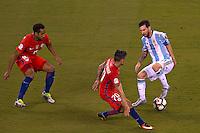 Action photo during the match Argentina vs Chile corresponding to the Final of America Cup Centenary 2016, at MetLife Stadium.<br /> <br /> Foto durante al partido Argentina vs Chile cprresponidente a la Final de la Copa America Centenario USA 2016 en el Estadio MetLife , en la foto:Lionel Messi de Argentina<br /> <br /> <br /> 26/06/2016/MEXSPORT/JAVIER RAMIREZ