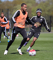 (L-R) Kenji Gorre and Raheem Hanley during the Swansea City FC training at Fairwood, Swansea, Wales, UK on Wednesday 04 May 2016