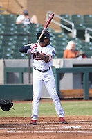 Salt River Rafters left fielder Jaylin Davis (30), of the Minnesota Twins organization, at bat during an Arizona Fall League game against the Glendale Desert Dogs at Salt River Fields at Talking Stick on October 31, 2018 in Scottsdale, Arizona. Glendale defeated Salt River 12-6 in extra innings. (Zachary Lucy/Four Seam Images)