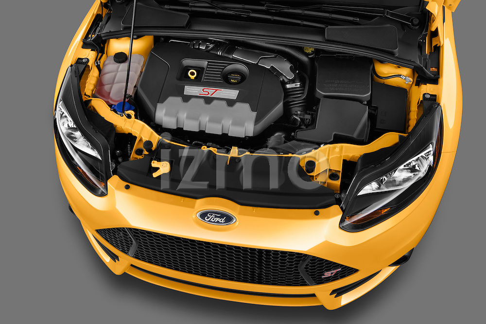 High angle engine detail of 2013 Ford Focus ST Hatchback Stock Photo