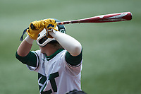 Dominic Pilolli (22) of the Charlotte 49ers at bat against the UTSA Roadrunners at Hayes Stadium on April 18, 2021 in Charlotte, North Carolina. (Brian Westerholt/Four Seam Images)