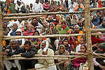 Crowds watch the procession of Sadhus (Holy Men) traveling to take holy bath in Ganges River in Allahabad for Kumbh Mela Festival