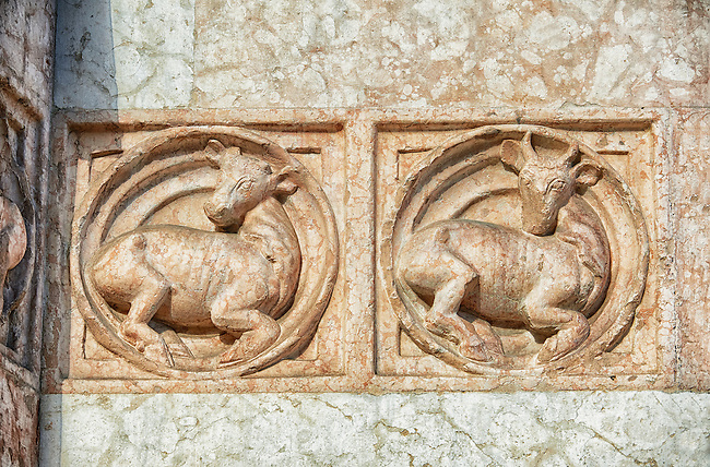 Medieval relief sculptures of mythical cattle on the exterior of the Romanesque Baptistery of Parma, circa 1196, (Battistero di Parma), Italy