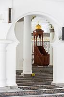 George Town, Penang, Malaysia.  Kapitan Keling  Mosque Interior, Minbar in Background.