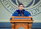 May 20, 2018; 2018 Brazilian Judge Sérgio Moro and Commencement speaker, delivers his address at the 2018 Commencement ceremony in Notre Dame Stadium. (Photo by Barbara Johnston/University of Notre Dame)