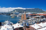 """South Africa, Cape Town, V & A Waterfront and Table Mountain with """"table cloth"""""""