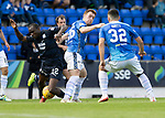 St Johnstone v Dundee…25.08.18…   McDiarmid Park     SPFL<br />Liam Craig and Kharl Madianga<br />Picture by Graeme Hart. <br />Copyright Perthshire Picture Agency<br />Tel: 01738 623350  Mobile: 07990 594431