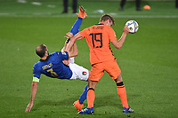Luuk De Jong of Netherlands and Giorgio Chiellini of Italy during the Uefa Nation League Group Stage A1 football match between Italy and Netherlands at Atleti azzurri d Italia Stadium in Bergamo (Italy), October, 14, 2020. Photo Andrea Staccioli / Insidefoto