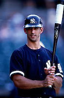 Jorge Posada of the New York Yankees plays in a baseball game at Edison International Field during the 1998 season in Anaheim, California. (Larry Goren/Four Seam Images)