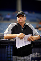 Colorado Rockies scout Alan Matthews in the dugout during the East Coast Pro Showcase on July 29, 2015 at George M. Steinbrenner Field in Tampa, Florida.  (Mike Janes/Four Seam Images)