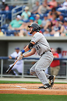 Biloxi Shuckers catcher Parker Berberet (21) at bat during the second game of a double header against the Pensacola Blue Wahoos on April 26, 2015 at Pensacola Bayfront Stadium in Pensacola, Florida.  Pensacola defeated Biloxi 2-1.  (Mike Janes/Four Seam Images)